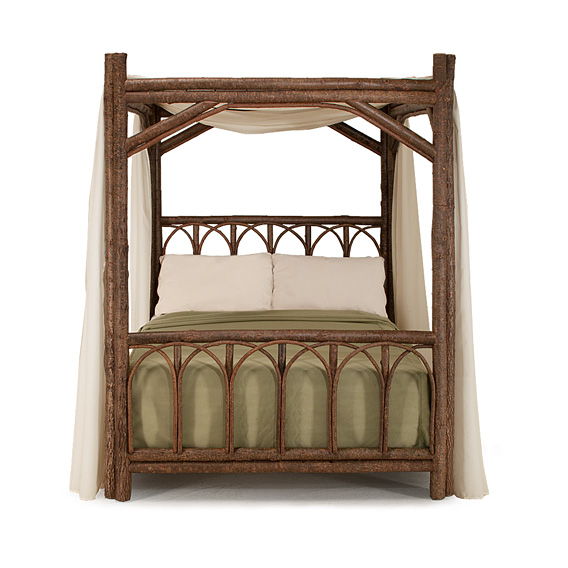 Rustic Canopy Bed Queen #4150 shown in Natural Finish (on Bark)