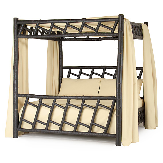 Rustic Canopy Bed King #4178 shown in Ebony Premium Finish (on Bark)