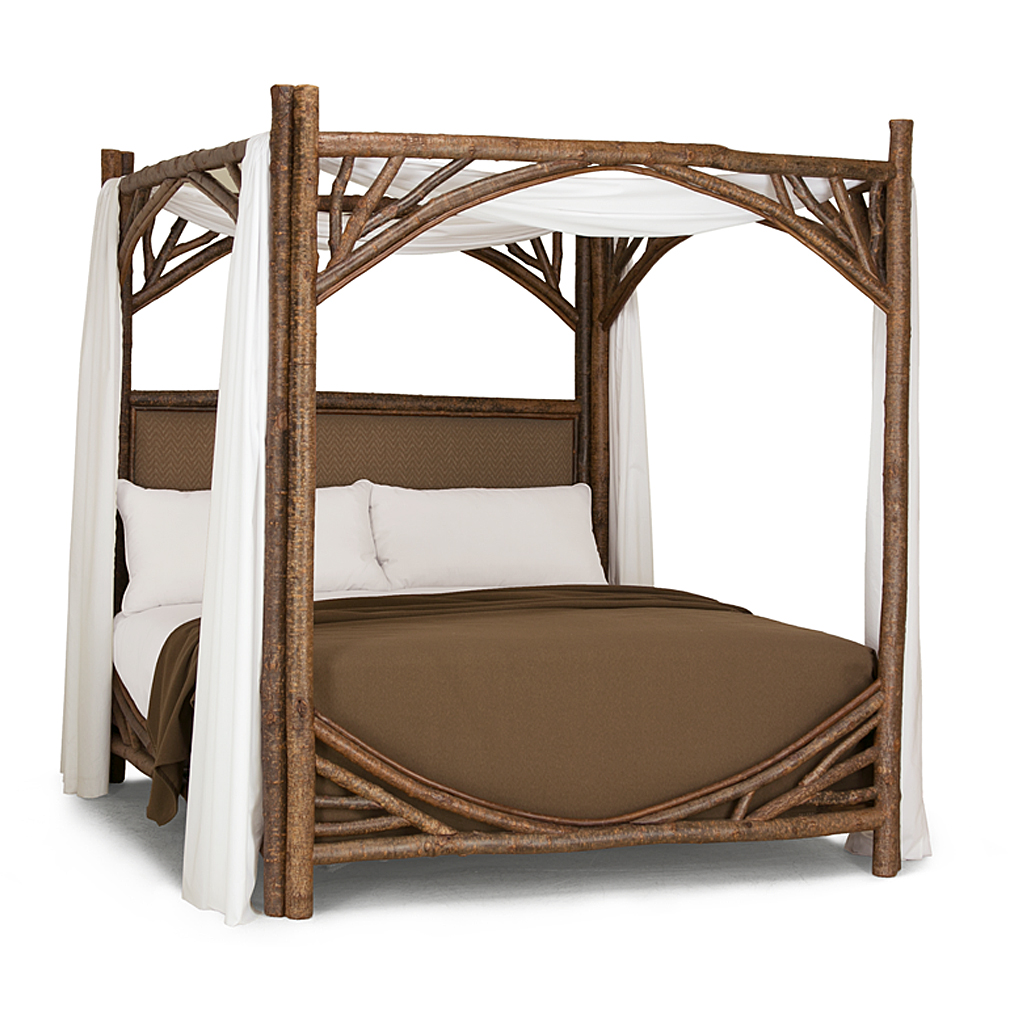 ... Rustic Canopy Bed King #4282 (Shown in Natural Finish with Optional Upholstered Headboard)  sc 1 st  La Lune Collection & Rustic Canopy Bed | La Lune Collection
