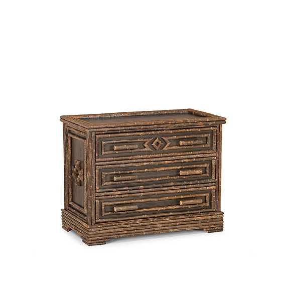 Rustic Three Drawer Chest #2136 shown in a Custom Finish - Dark Pine with Willow in Natural Finish (on Bark)
