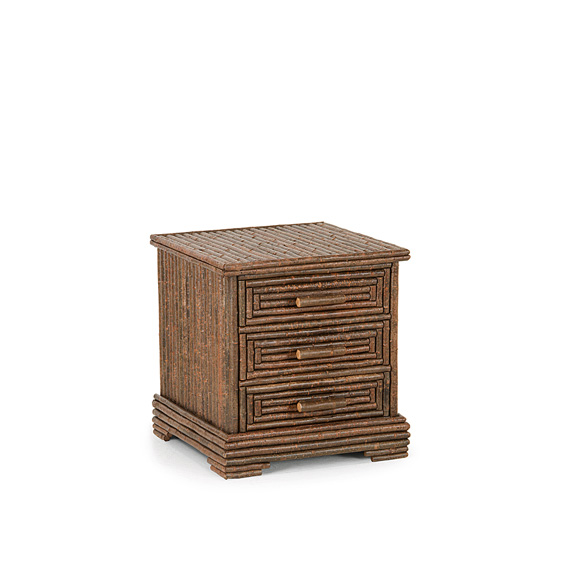 Rustic Three Drawer Chest #2158 shown in Natural Finish (on Bark)