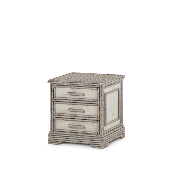 Rustic Three Drawer Chest #2159 shown in Pewter Premium Finish (on Bark)