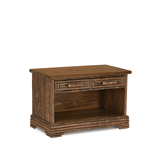 Rustic Open Chest #2186 with Optioanl Medium Oak Top shown in Natural Finish (on Bark)