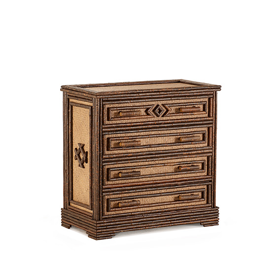 Rustic Four Drawer Chest #2572 shown in Natural Finish (on Bark)