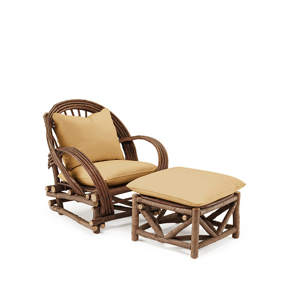 Rustic Club Chair #1006 & Ottoman #1010 shown in Natural Finish (on Bark)