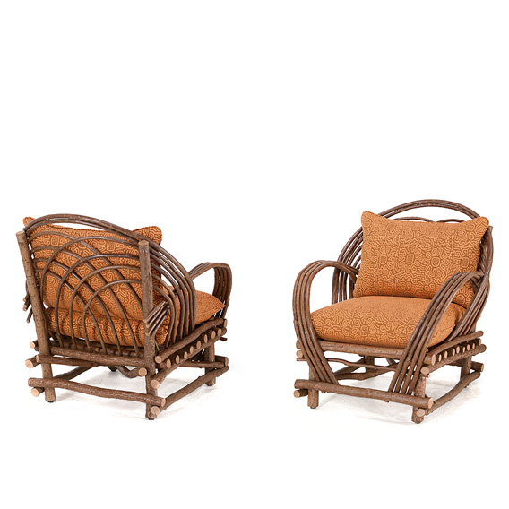 Rustic Club Chair #1020 shown in Natural Finish (on Bark)