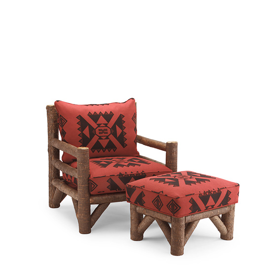 Rustic Lounge Chair #1248 & Ottoman #1254 shown in Natural Finish (on Bark)