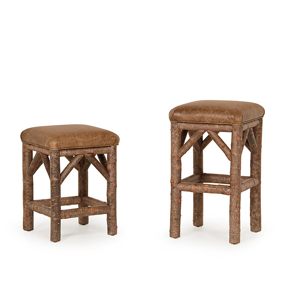 Rustic Counter Stool #1142 & Bar Stool #1144 (shown in Natural Finish on Bark)