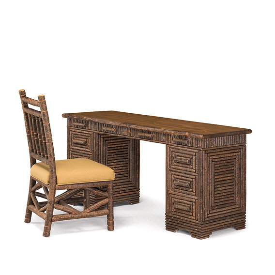 Rustic Desk #2176 with Medium Pine Top & Side Chair #1198 - Both Items shown in Natural Finish (on Bark)