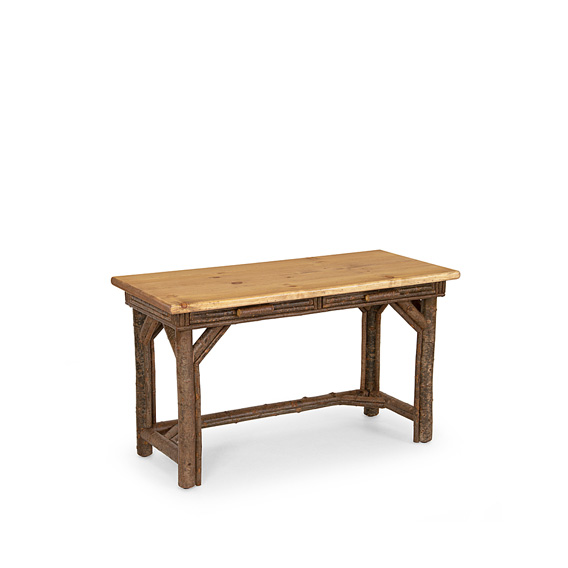 Rustic Desk #3202 shown in Natural Finish (on Bark) with Light Pine Top