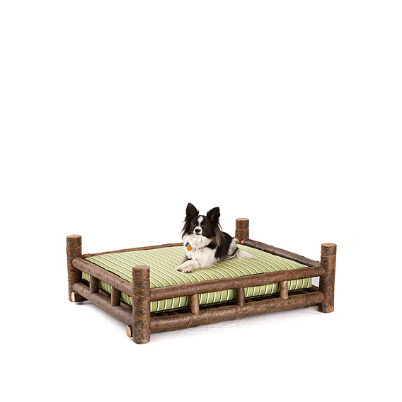 Rustic Dog Bed #5152 shown in Natural Finish (on Bark)