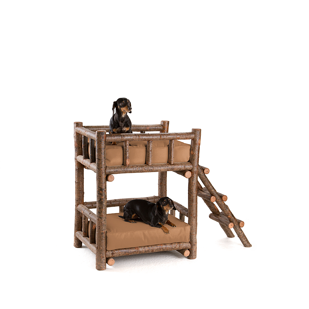 Rustic Dog Bunk Bed #5134 Shown In Natural Finish (on Bark)