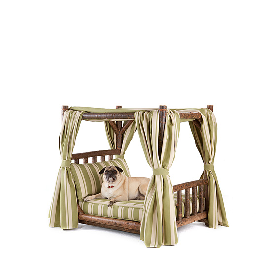 Rustic Dog Canopy Bed #5112 shown in Natural Finish (on Bark)