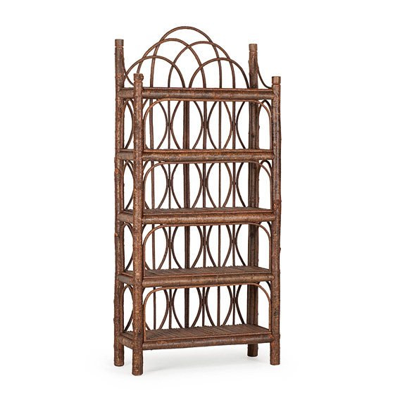 Rustic Five Tier Etagere #2094 shown in Natural Finish (on Bark)