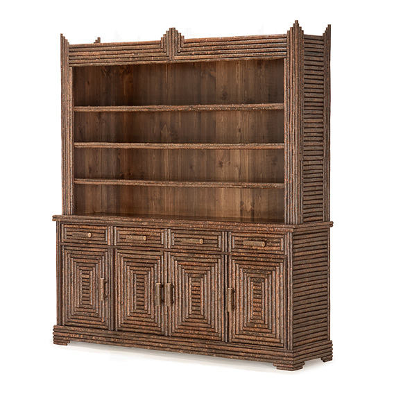 Rustic Hutch #2054 shown in Natural Finish (on Bark)