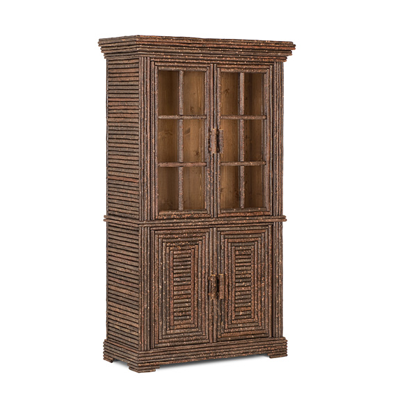 Rustic Hutch with Glass Doors #2066 shown in Natural Finish (on Bark)