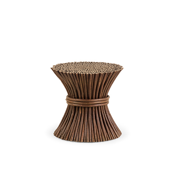 Rustic Pedestal #3354 shown in Natural Finish (on Bark)