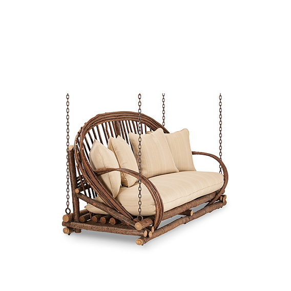 Rustic Porch Swing #1091 shown in Natural Finish (on Bark)
