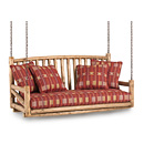 Porch Swing #1233 shown in Pecan Premium Finish (on Peeled Bark) La Lune Collection
