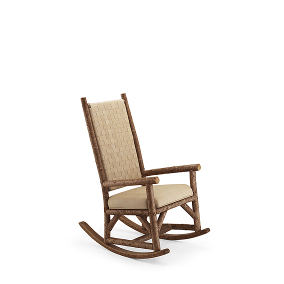 Rustic Rocker with Woven Leather Back #1188 shown in Natural Finish (on Bark)