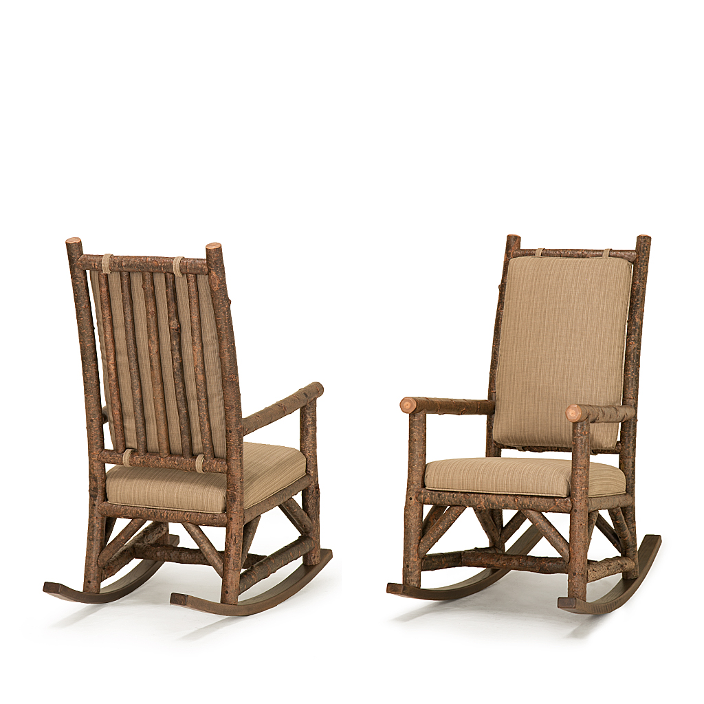 Rustic Rocking Chair With Tie On Back Pad 1189 Shown In Natural Finish