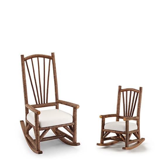 Rustic Rocking Chair #1190 & Child's Rocking Chair #1192 shown in Natural Finish (on Bark)