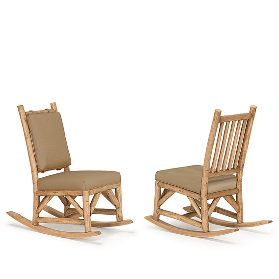 Rustic Rocking Chair with Tie-On Back Pad #1197 & Rocking Chair #1195 shown in Pecan Premium Finish (on Peeled Bark)
