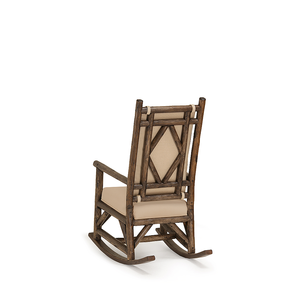 Rustic Rocking Chair With Tie On Back Pad 1550 Shown In Kahlua Finish