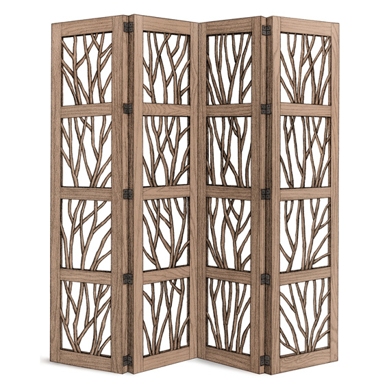 Rustic Four Panel Room Screen #5003 shown in Natural Finish (on Bark)