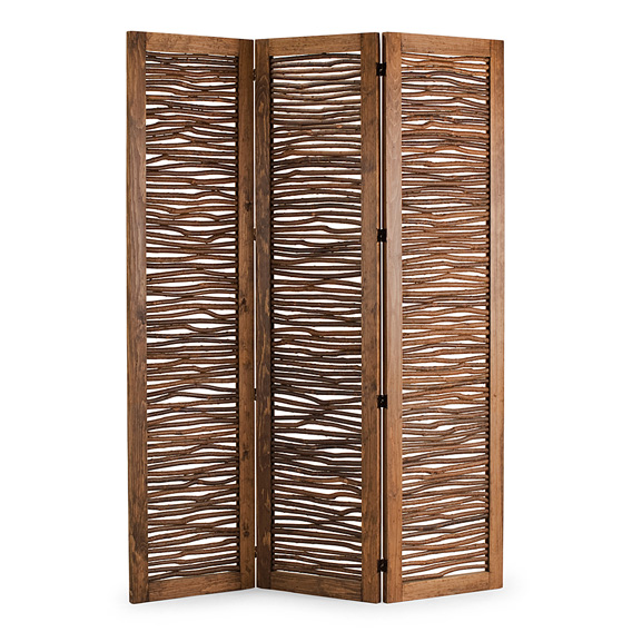 Rustic Three Panel Room Screen #5005 shown in Natural Finish (on Bark)
