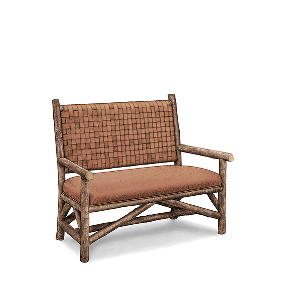 Rustic Settee with Woven Leather Back #1187 shown in Natural Finish (on Bark)