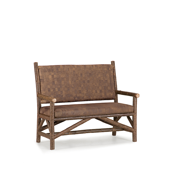 Rustic Settee with Woven Leather Back #1187 (Shown in Natural Finish)