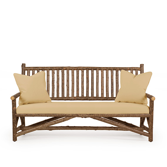 Rustic Settee #1203 shown in Natural Finish (on Bark)
