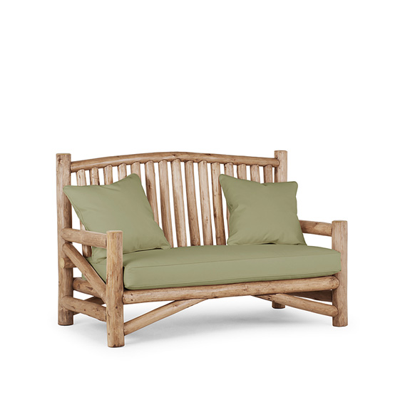 Rustic Settee #1226 shown in Pecan Premium Finish (on Peeled Bark)