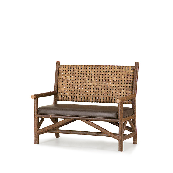 Rustic Settee with Woven Reed Back #1640 (Shown in Natural Finish)