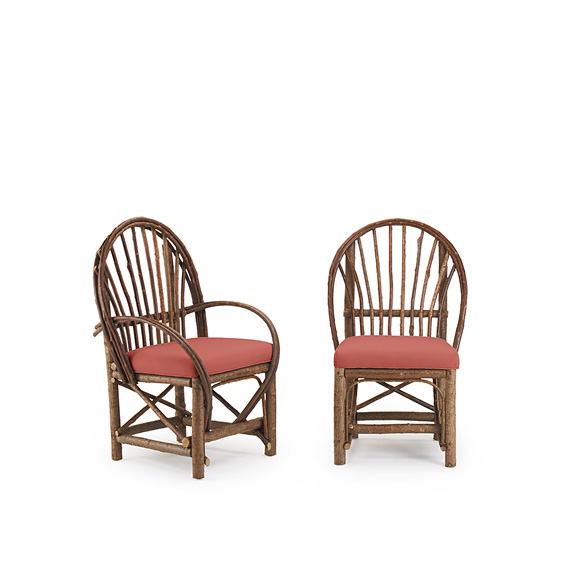 Rustic Dining Arm Chair #1042 & Dining Side Chair #1040 shown in Natural Finish (on Bark)