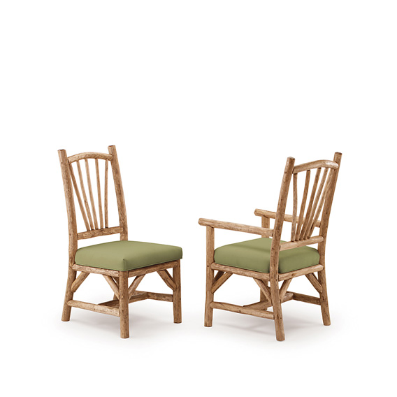 Rustic Dining Side Chair #1154 & Dining Arm Chair #1156 shown in Pecan Premium Finish (on Peeled Bark)