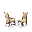 Arm Chair #1186 & Side Chair #1184 with Woven Leather Backs shown in Natural Finish (on Bark) La Lune Collection