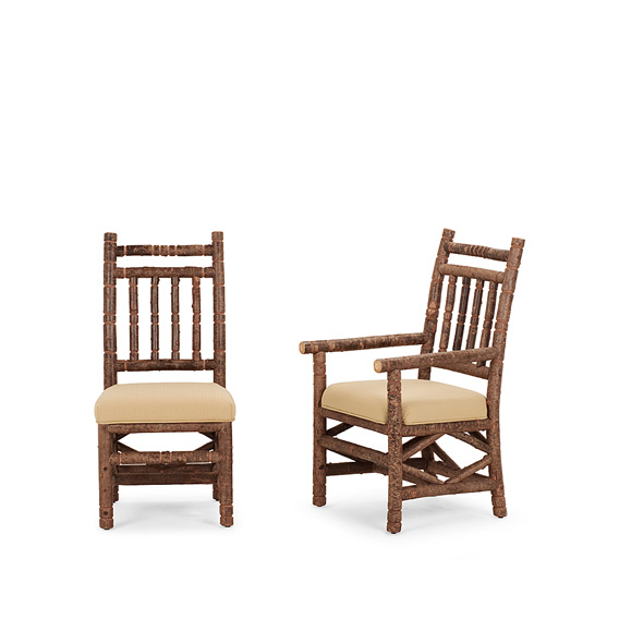 Rustic Dining Side Chair #1198 & Dining Arm Chair #1200 (shown in Natural Finish on Bark)