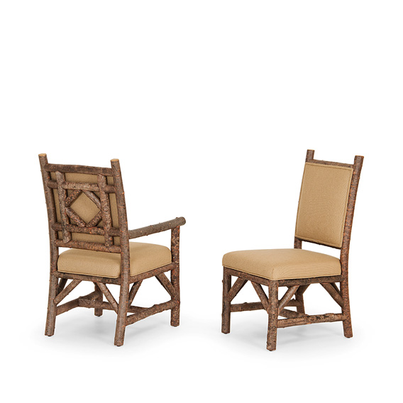 Rustic Dining Arm Chair #1290 & Dining Side Chair #1288 w/Tight Upholstered Back (shown in Natural Finish on Bark)