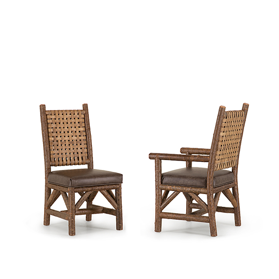 Rustic Dining Side Chair #1636 & Dining Arm Chair #1638 with Woven Reed Back (Shown in Natural Finish)