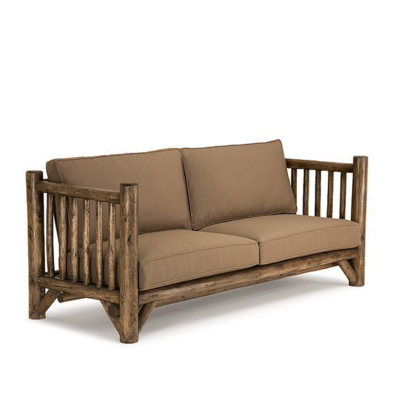 Rustic Sofa #1274 shown in Kahlua Premium Finish (on Peeled Bark)