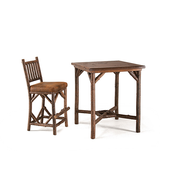 Table #3035 shown with Medium Pine Top & Barstool #1138 - Items shown in Natural Finish (on Bark)
