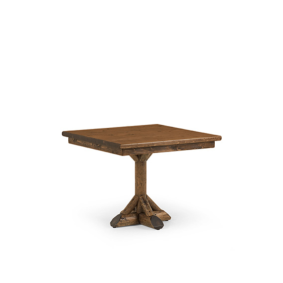 Rustic Dining Table #3041 shown in Kahlua Premium Finish (on Peeled Bark) with Medium Pine Top