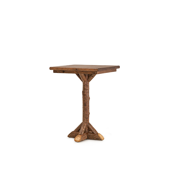 Rustic Bar Table #3049 shown in Natural Finish (on Bark) with Medium Pine Top