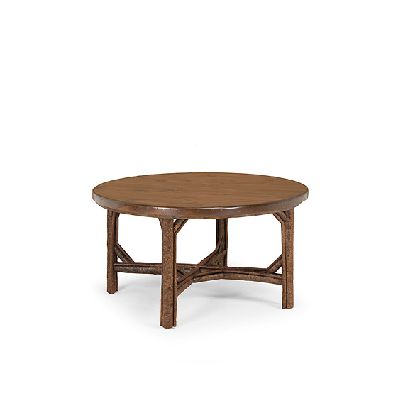 Rustic Dining Table #3064 shown in Natural Finish (on Bark) with Medium Pine Top