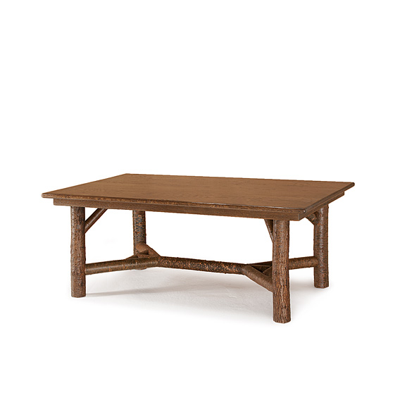 Rustic Dining Table with Optional Medium Oak Top #3080 shown in Natural Finish (on Bark)