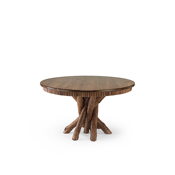 Rustic Dining Table #3089 shown in Natural Finish (on Bark) with Medium Pine Top