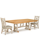 Trestle Table #3121 with Light Pine Top & Side Chairs #1400 - Items shown in Sandstone Premium Finish (on Bark) La Lune Collection