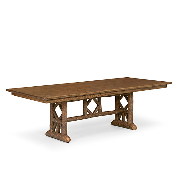 Trestle Table with Optional Medium Oak Top #3121 shown in Natural Finish (on Bark)